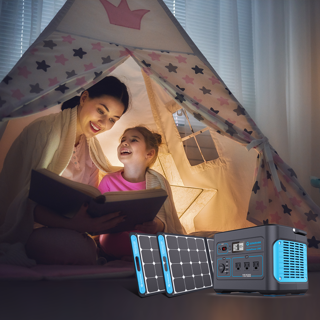 A mother and daughter read a book in a tent, with a picture of the Generark Solar Generator overlaid.