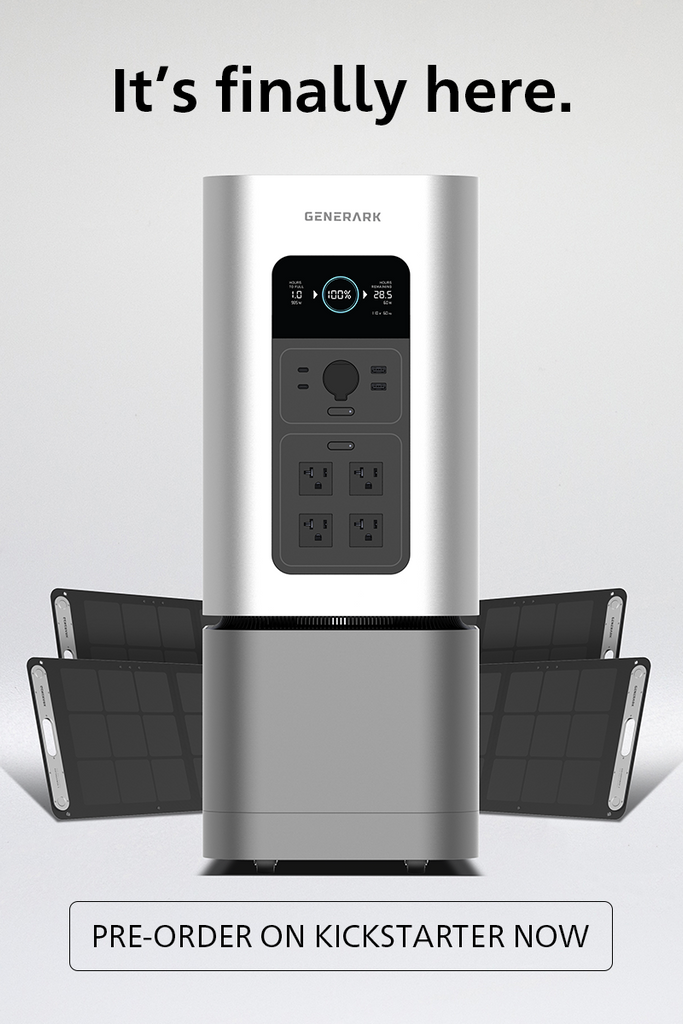 """The Generark Solar Generator is pictured with the words, """"It's finally here"""" and """"pre-order on Kickstarter now."""""""