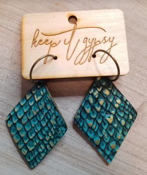 Genuine Leather Deep Teal with Gold Accent Earrings
