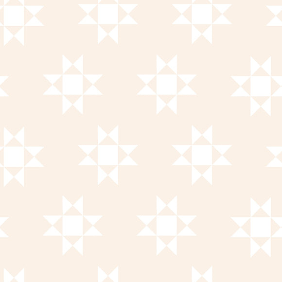 On the Farm by 3 Wishes White on Cream Tonal Stars