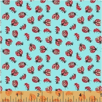 Love Letters Lady Bugs Aqua from Windham Fabrics
