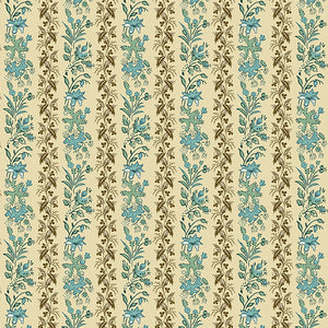 Rochester by Di Ford Hall Teal Peacock Vining Floral Stripe