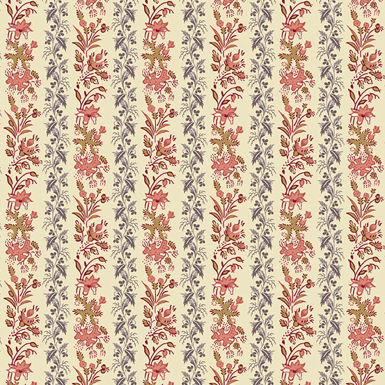 Rochester by Di Ford Hall Plum Rose Vining Floral Stripe