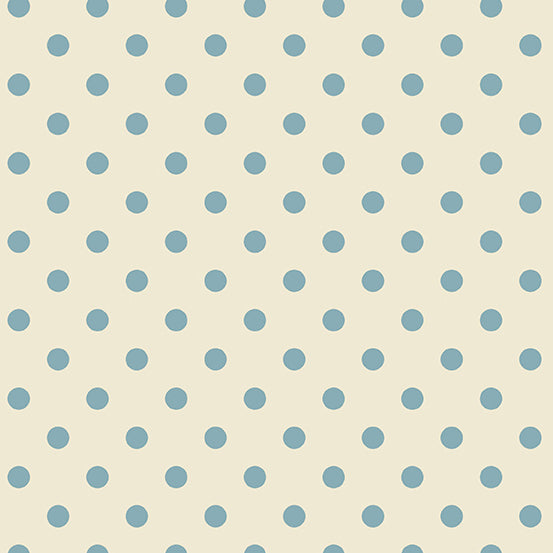 Delfina by Edyta Sitar for Laundry Basket Quilts  Blue on Ivory Dot