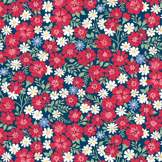 Strawberry Jam  Navy Blue Floral Vines from Andover