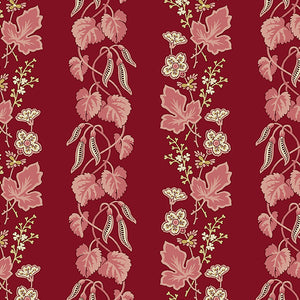 Super Bloom by Edyta Sitar for Laundry Basket Quilts Cranberry Vine Stripe
