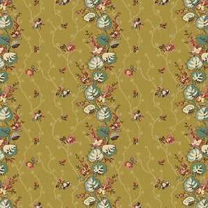 Anne's English Garden Moss Floral Stripe by Di Ford Hall