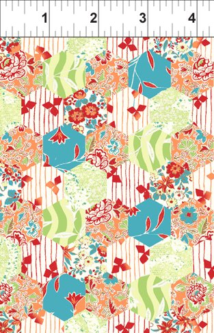 Garden Delights Coral Hexagon from In the Beginning Fabrics