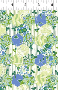 Garden Delights Blue Hexagon from In the Beginning Fabrics