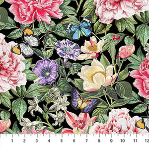 Botanica from Northcott Floral Digital Black