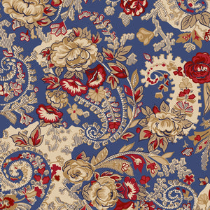 French Blue Paisley Floral by Evonne Cook