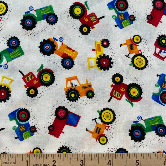 Mini Tractors from Timeless Treasures Multi