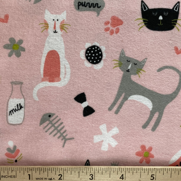 Meow Cats Flannel by My Mind's Eye Pink