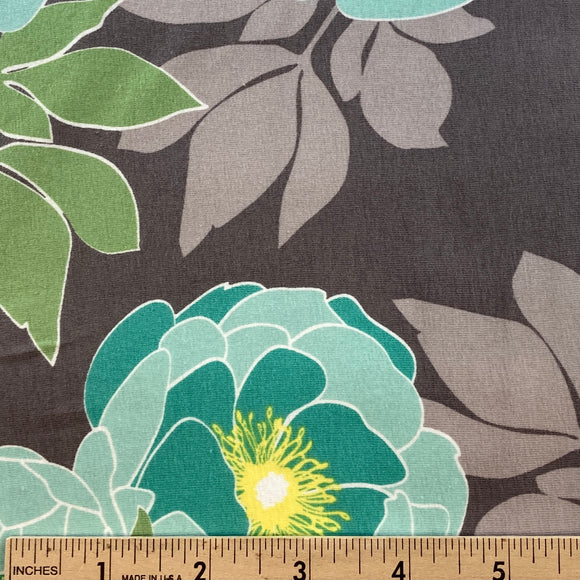 Cottage Garden Floral Knit by Quilted Fish Gray