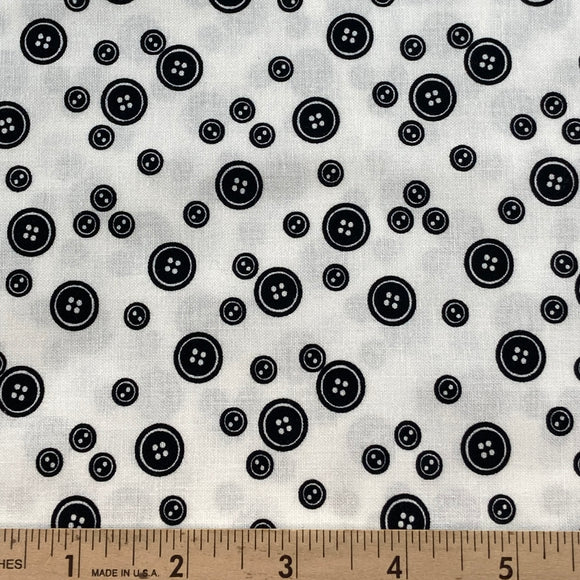 Black & White Buttons from Makower BOLT END 4 Yards