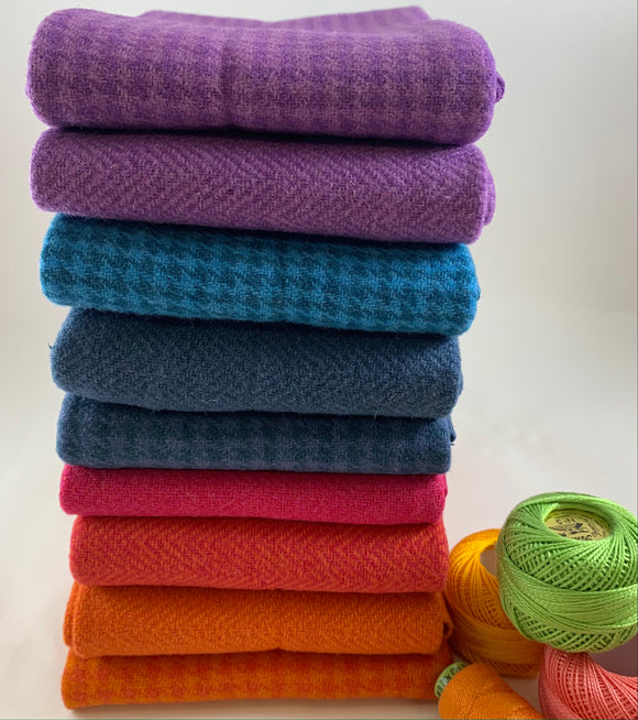 Wool and Wool Blend Fat Quarter Stack of 9 Brights