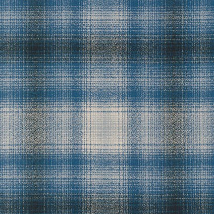 Mammoth Flannel Blue Plaid from Robert Kaufman