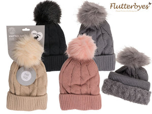 Cosy Comfort Hat with Faux fur pompom-Cable Stitch