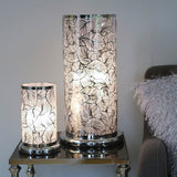 Large Silver Cylinder Touch lamp - Leaf design