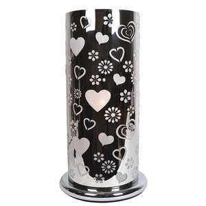 Large Silver Cylinder Touch lamp - Heart design
