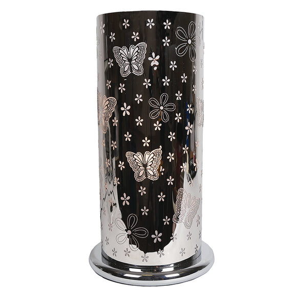 Large Silver Cylinder Touch Lamp- Butterfly Design