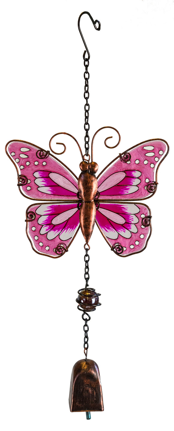 Butterfly Suncatcher with Bell-Pink