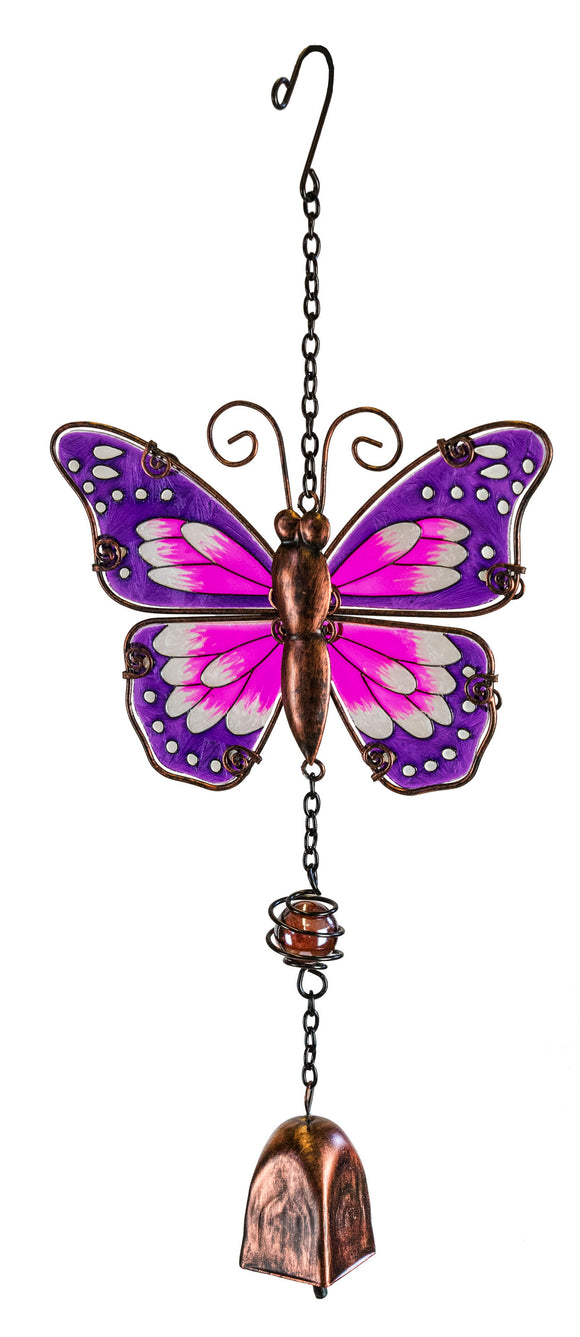 Butterfly Suncatcher with Bell-Purple