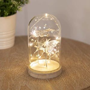 LED Light Up Glass Dome - Silver Butterfly