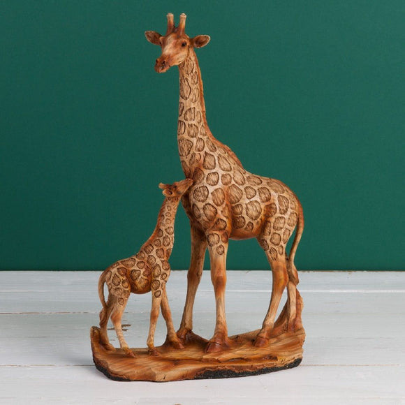 Naturecraft wood effect resin figurine-Giraffe & calf