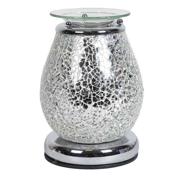 Silver Mosaic Wax/Oil Burner Touch Lamp