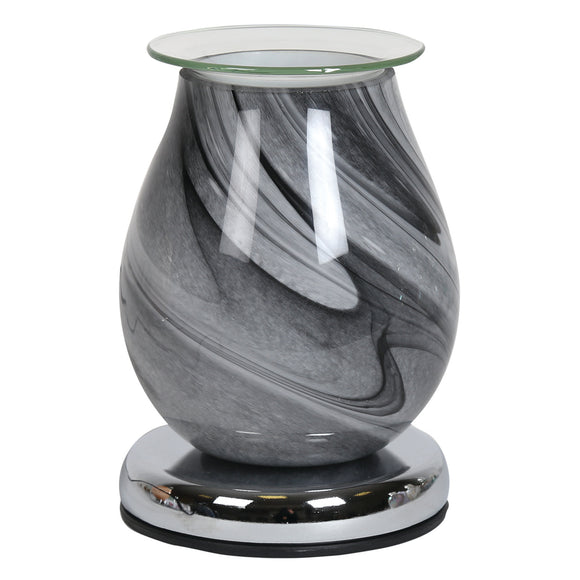 Grey Swirl Glass Wax/Oil Burner Touch Lamp