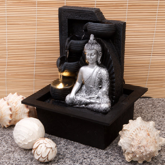 Silver Buddha with Water Bowls-Water Feature