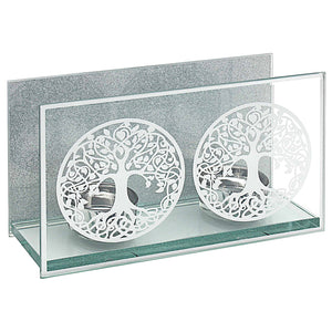 MIRROR TREE OF LIFE TWIN T-LIGHT HOLDER