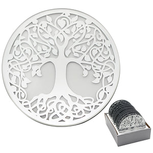MIRROR TREE OF LIFE CANDLE PLATE 10 CM