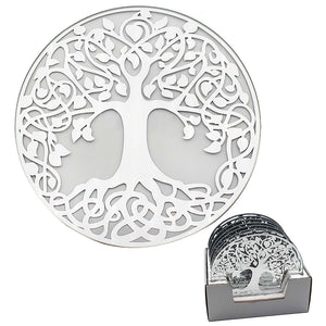 MIRROR TREE OF LIFE CANDLE PLATE 20 CM