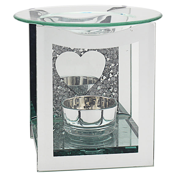 MULTI CRYSTAL MIRROR HEART WAX/OIL-BURNER