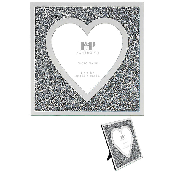 MULTI CRYSTAL HEART FRAME 8X8