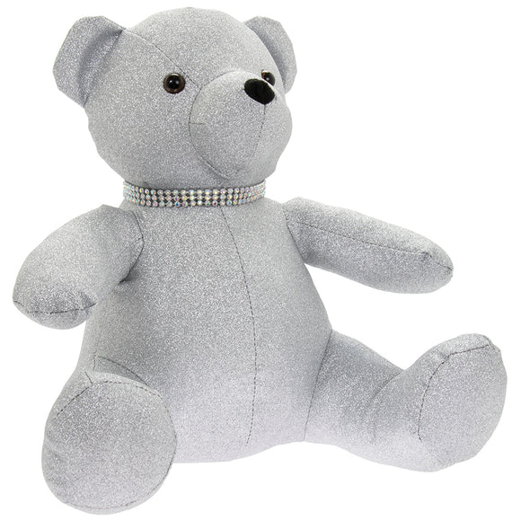 SILVER BLING TEDDY BEAR DOORSTOP