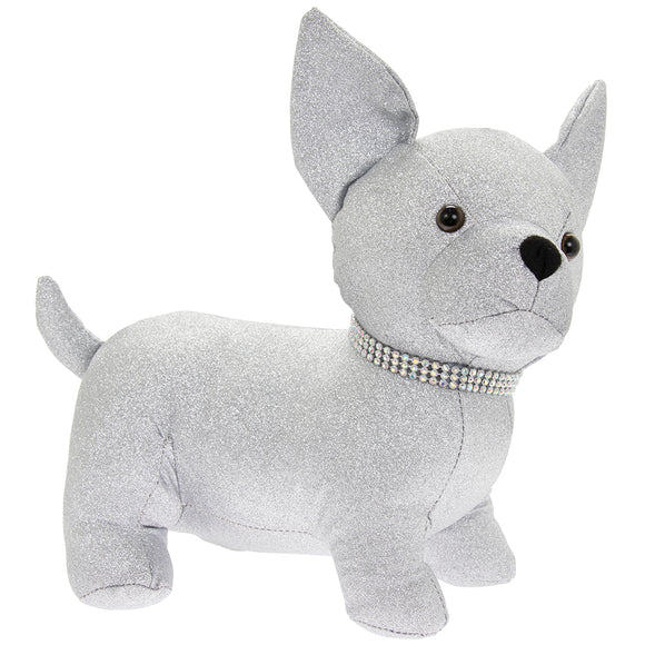 SILVER BLING CHIHUAHUA DOORSTOP