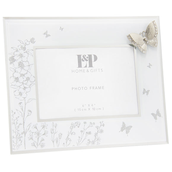 Mirrored Glitter Floral Butterfly Glass White Photo Picture Standing Frame 4x6'
