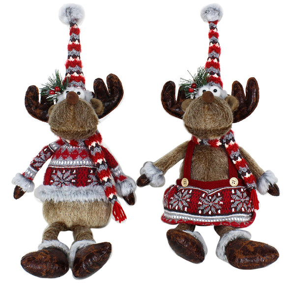 REINDEER SITTING WITH DANGLY LEGS