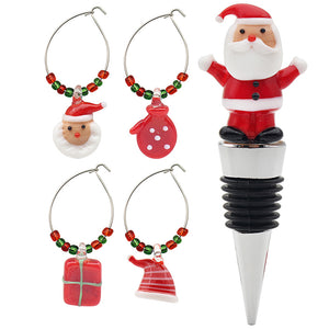 CHRISTMAS WINE STOPPER & 4 WINE CHARMS