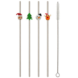 CHRISTMAS METAL STRAWS -SET OF 4