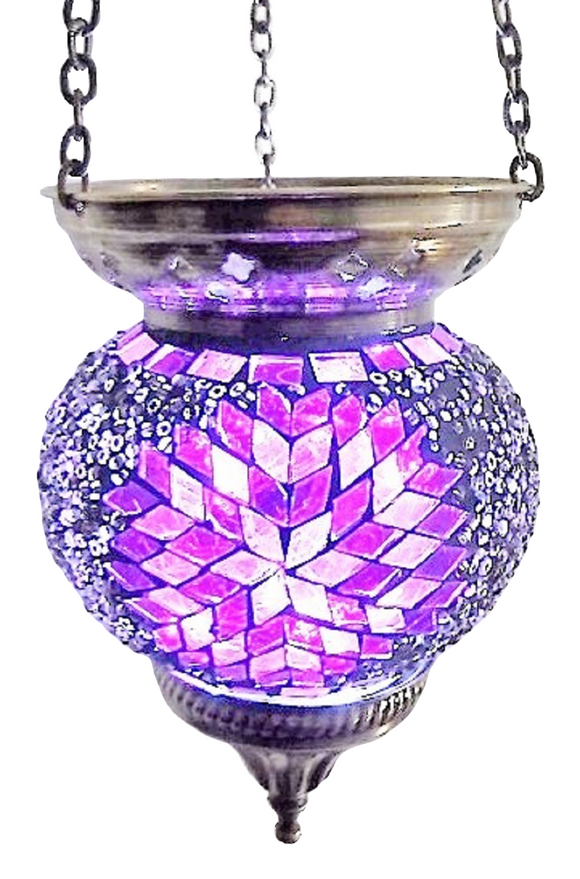 Mosaic Hanging T-Lite Holder-Mix Purple,Medium