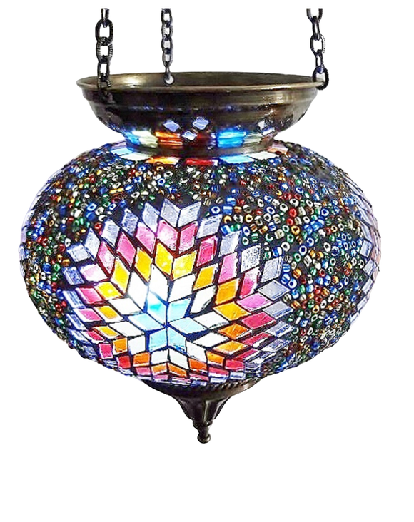 Mosaic Hanging T-Lite Holder-Multi Coloured