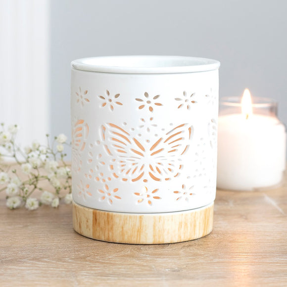 MATTE WHITE CERAMIC BUTTERFLY OIL BURNER