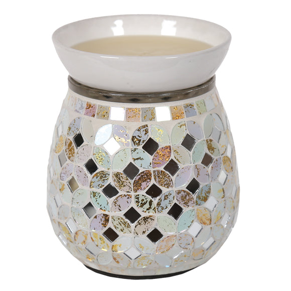 Mosaic Electric Wax/Oil Burner -Cream & Gold