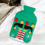 Elf with Pom Poms - Hot Water Bottle & Knitted Cover
