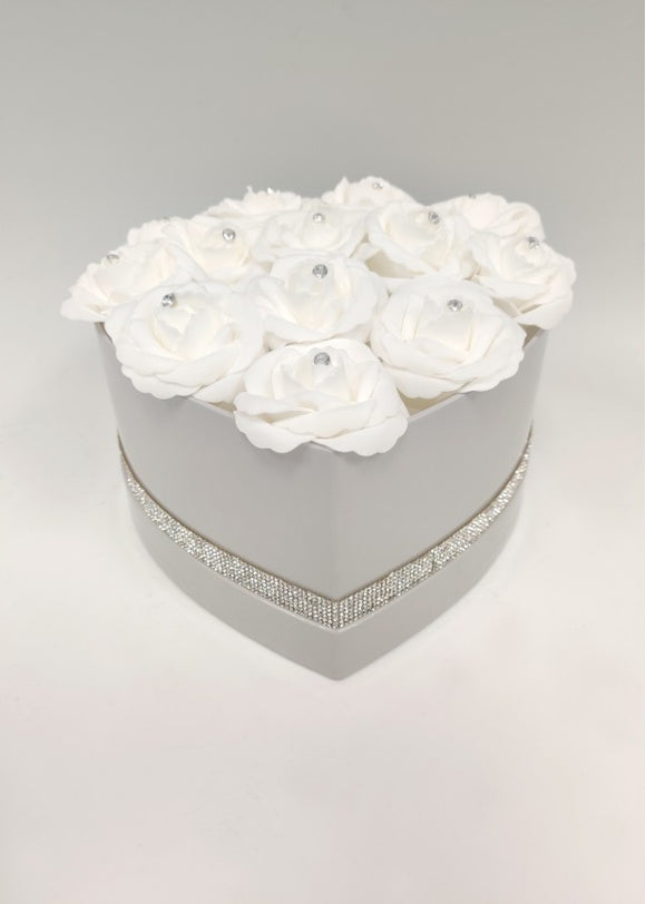Diamante foam roses in grey heart shape hat box.