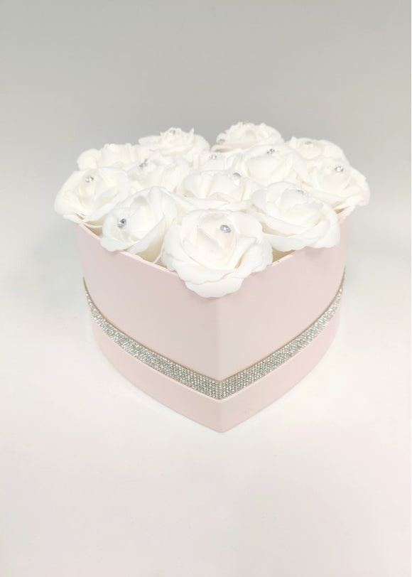 Diamante foam roses in pink heart shape hat box.